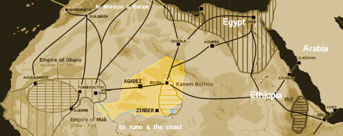 Map showing the main trans-Saharan caravan routes in around 1400.