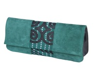 AfroClutch- bottle green suede with green and white dotted-lines Adinkra cloth in the middle