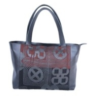 Marhaw Wide Tote with   black:brown Adinkra cloth