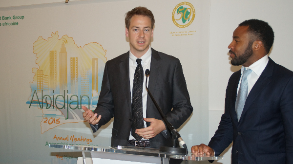Ampion founder Fabian Guhl and co-founder Ifeanyi Oteh at the AfDB Annual Meeting in Adidjan, Ivory Coast